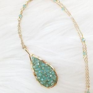 NWT Vintage Aqua Marquise Necklace